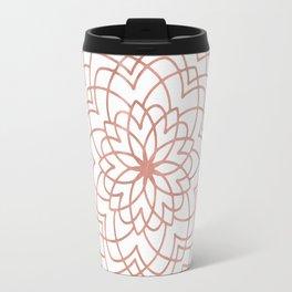 Mandala Blossom Rose Gold on White Travel Mug