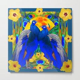 TEAL YELLOW HIBISCUS & BLUE PEACOCKS ART Metal Print