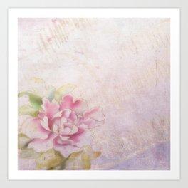 Single Peony Blossom Pink Kimono Inspired Print Art Print