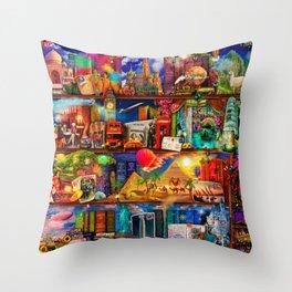 World Traveler Book Shelf Throw Pillow