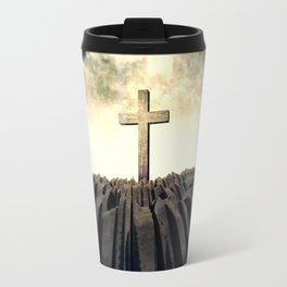 Christian Cross On Mountain Travel Mug