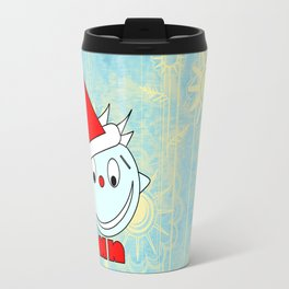 Funny Head with half smile Travel Mug