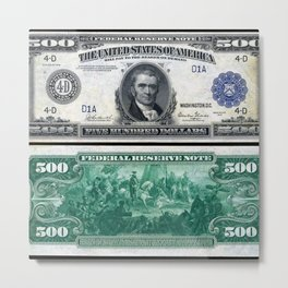 1918 $500 Federal Reserve Marshall Bank Note Metal Print