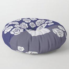 White Roses in Vase on Blue Floor Pillow