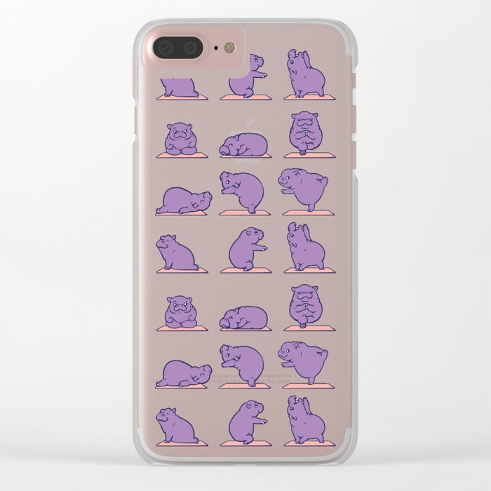 Baby Hippo Yoga Clear iPhone Case