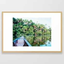 A Boat in the Amazon Rainforest Fine Art Print Framed Art Print