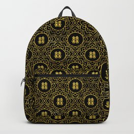 Gold Double Happiness Symbol in lotus pattern Backpack