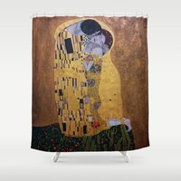 gustav klimt Shower Curtains featuring Copy of The Kiss - Klimt by JeyJey Artworks