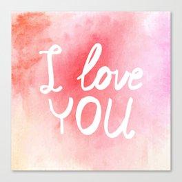Watercolor love card Canvas Print