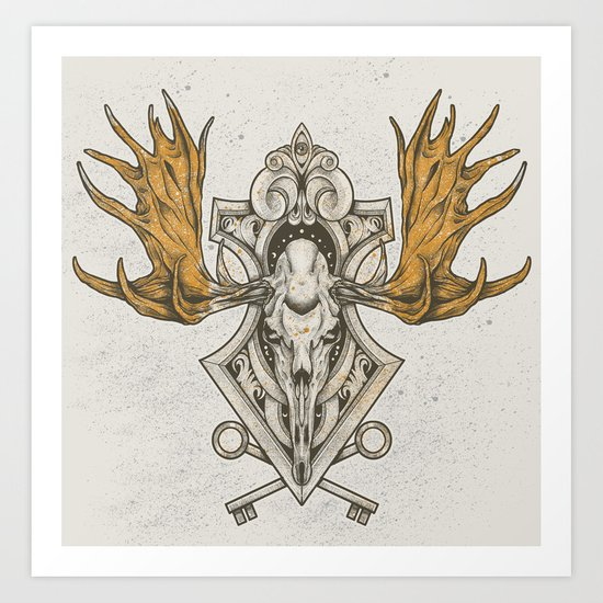 Moose Skull Art Print