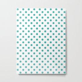 Small Polka Dots - Verdigris on White Metal Print