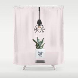 Succulent Minimal Design Shower Curtain