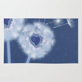 Love Blue Dandelions Hearts Design Rug
