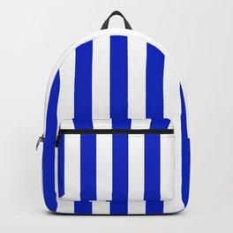 Cobalt Blue and White Vertical Beach Hut Stripe Backpack