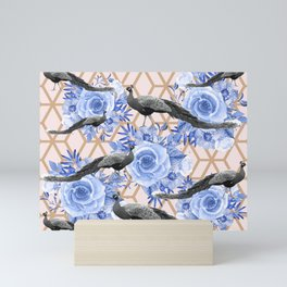 Peacocks and Blue Flowers on Geometric Mini Art Print