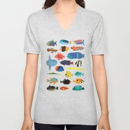 Tropical Fish chart Unisex V-Neck