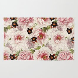 Small Vintage Peony and Ipomea Pattern - Smelling Dreams by #UtART Rug