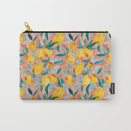 Lucky Lemons Watercolor Fruit Pattern in Peach and Yellow Carry-All Pouch