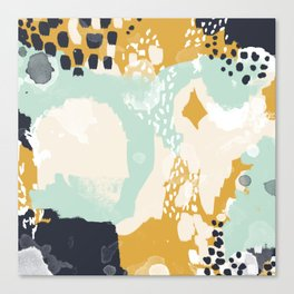 Tinsley - abstract painting minimalist decor nursery dorm college art gold navy Canvas Print