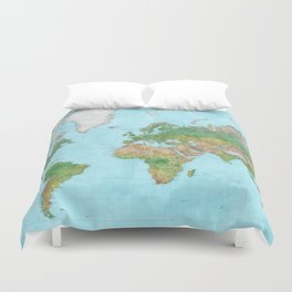 Watercolor physical world map (high detail) Duvet Cover