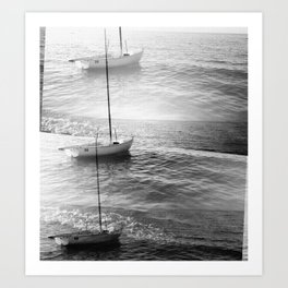 Triple exposition (floating boat on canvas)  Art Print