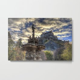 Ross Fountain And Edinburgh Castle Metal Print