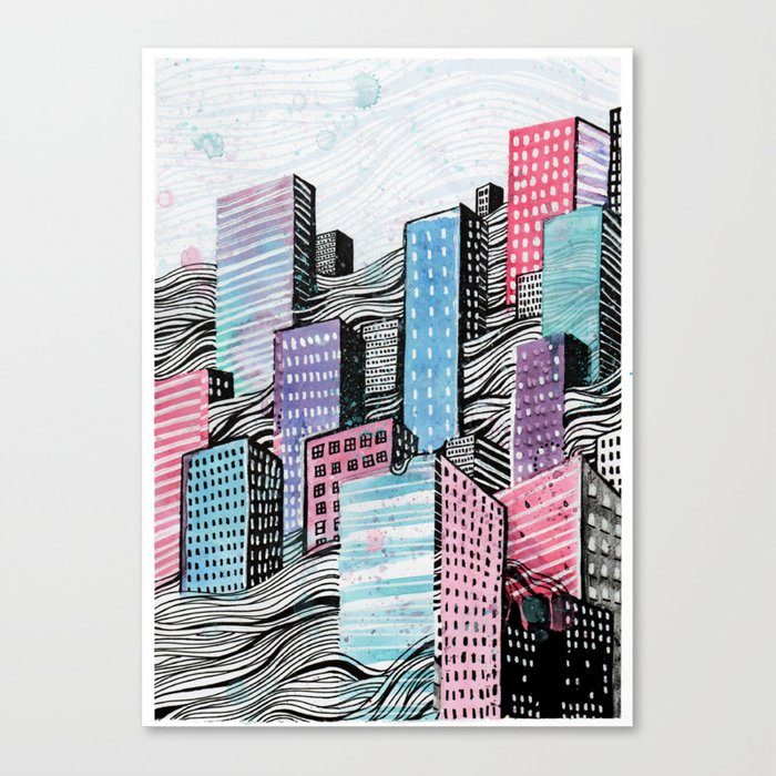 Melted City Canvas Print