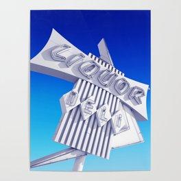Liquor Deli Vintage Retro Neon Sign Blue Poster