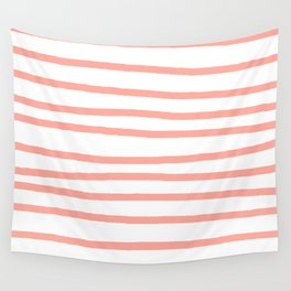 Simply Drawn Stripes Salmon Pink on White Wall Tapestry