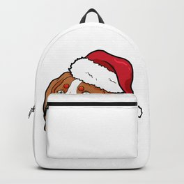 Brittany Dog Christmas Hat Present Backpack