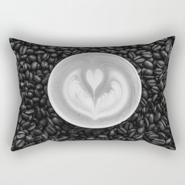 Coffee Beans (Black and White) Rectangular Pillow