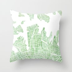 Sydney Australia watercolor city map Throw Pillow