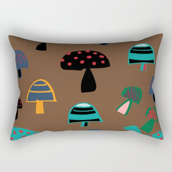 Cute Mushroom Brown Rectangular Pillow