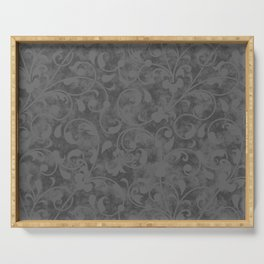 Modern Farmhouse Gray Damask Print Flower Vine on Weathered Background Serving Tray
