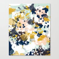 mint Canvas Prints featuring Sloane - Abstract painting in modern fresh colors navy, mint, blush, cream, white, and gold by CharlotteWinter