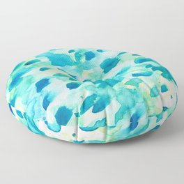 Blue, Green and Aqua Abstract Watercolor Painted Spots Floor Pillow