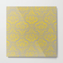 Damask in Gray / Yellow Metal Print