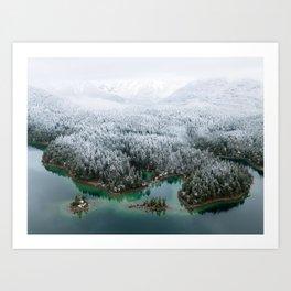 Winter Wonderland – Islands in a Mountain Lake Landscape Art Print