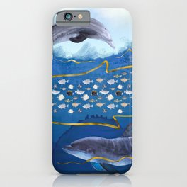 Dolphins Hunting Fish - Surreal Seascape iPhone Case