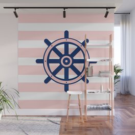 AFE Pink and Navy Helm Wheel Wall Mural