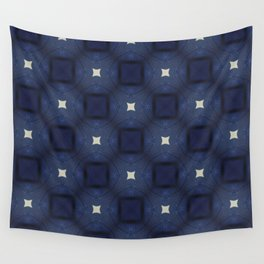 Blue and White Square Pattern Wall Tapestry