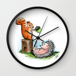 squirrel & hedgehog Wall Clock