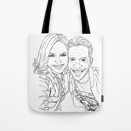 Sean and Lana Enchanted selfie (outline) Tote Bag