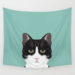 Quinn - Cute black and white cat tuxedo cat gifts for cat lady gift ideas cell phone case with cat Wall Tapestry