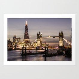 London Tower River UK Photography night ArtWork Art Print