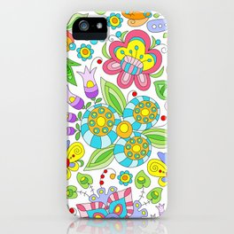 Background colorful flowers, doodleart, abstract graphic-desing vector pattern iPhone Case