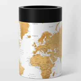 For God so loved the world, world map in gold Can Cooler
