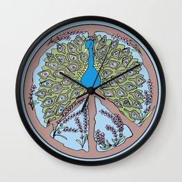 Blue Peacock Mandala Wall Clock
