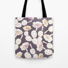 Modern white gold mauve lavender catus floral Tote Bag