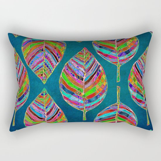Multicolor Leaf Pattern Rectangular Pillow